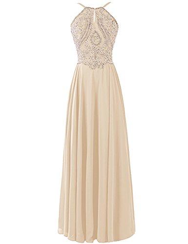 Dresstells, Robe de soirée Robe de cérémonie Robe de gala emperléedos nu bretelles spaghetti Champagne