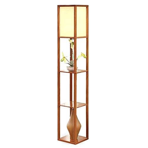 QTDH Innenbeleuchtung 1,6 Mt Holz Stehleuchte Mit Regalen Freistehende Stehleuchte Nachttischlampe Leselampe for Schlafzimmer Wohnzimmer Office Home (Keine Lampe) -