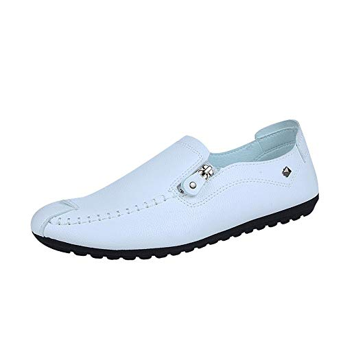 koperras Mens Solid Loafer, Round Toe Sewing Flat Heel Shallow Mouth Slip On Classic Leather Shoes Footwear(US 8,White) -
