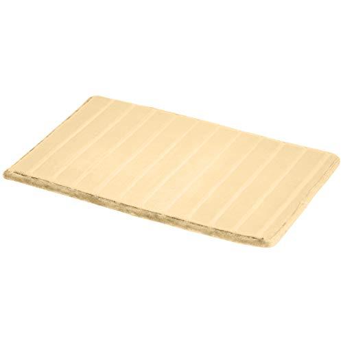 AmazonBasics Tapis de bain en mousse à mémoire de forme et texture rayée, Beige, 50 x 80 cm