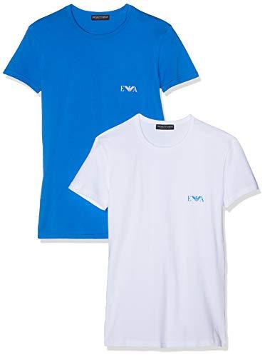 Emporio Armani Underwear MEN'S KNIT 2PACK T-S, Herren Regular Fit, Schwarz (Bianco/Onda 14210), Large (Herstellergröße: L) (Large UK)