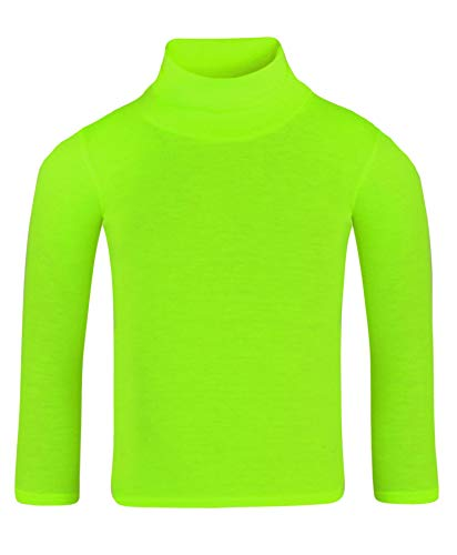 Lotmart bambini tinta unita basic manica lunga slim dolcevita camicia - giallo neon, 11-12 anni
