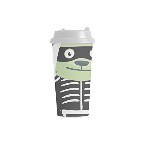Grüner Hintergrund Hundegewohnheits 16 Unze Doppelwand Plastikisolierte Sport Wasser Flaschen Schalen Pendler Reise Kaffeetassen für Studenten Frauen Milch Teetasse Getränk (Kostüm Milch Glas)