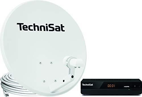 TechniSat TechniTenne 60 Satellitenschüssel Komplett-Set (60 cm Spiegel / Digital Sat Antenne mit Mast-Halter, Twin LNB für bis zu zwei Teilnehmer und Satelliten Receiver HD-S 221) lichtgrau