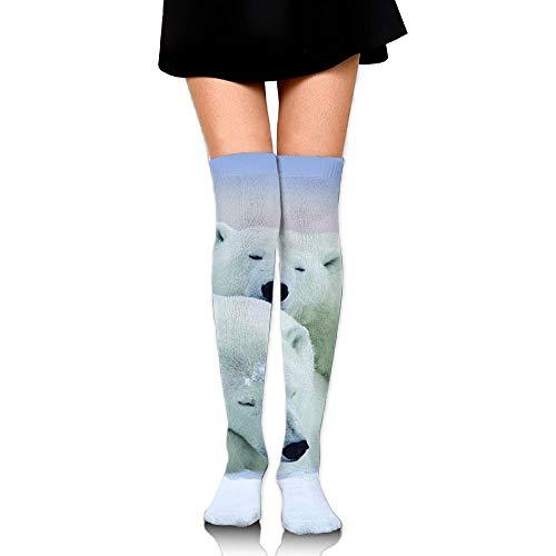 CVDFVFGB Men's/Women's Polar Bear Couple Casual Crew Top Socks Knee Long High Socks - Womens Polar Bear
