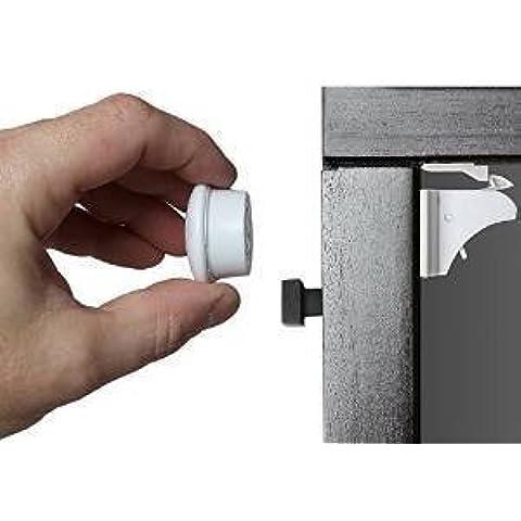 Cerraduras de Gabinetes A prueba de niños (4 Cerraduras 2 Llaves) Armarios y Cajones a Prueba de Niños con la seguridad del efecto magnético de la cerradura adhesiva, Instalación en minutos, Ninguna perforación necesaria