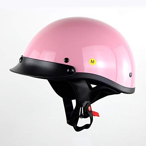 FlyingBoy Motorradhelm, DOT Certified Motorradhalbhelm Sonnenschutzmaske Schnelle Schnalle Männer Und Frauen Halbhelm Reithelm,Pink,XXL
