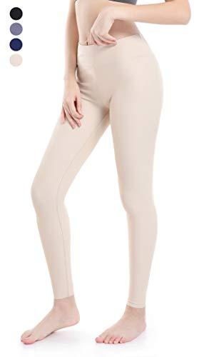 Wirezoll Leggings Damen, Hochelastische Sport Yoga Hohe Taille Hose für Gym und Jogging / 3 Länge Kurz zu Schneiden/Aus Baumwolle (Beige, XS)