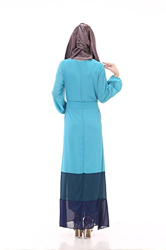 GladThink Frauen Moslem mit langen Ärmeln Chiffon Maxi-Kleid SkyBlau ...