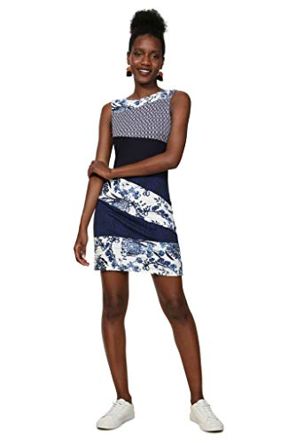 Desigual Damen Kleid Dress Sleeveless Olivia Woman Blue, Blau (Marino 5001) Medium