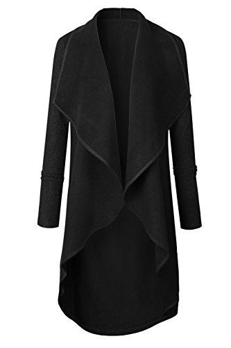 Les Femmes Élégantes Hiver Automne Revers Avant Ouvert Classique Trenchcoat Vêtements Black