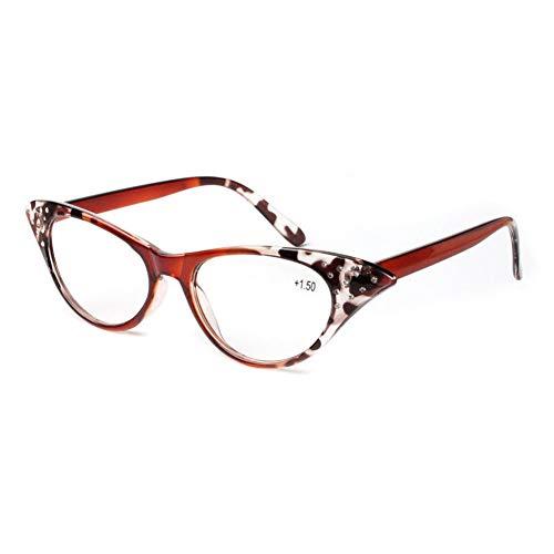 Katzenauge Lesebrille Damen - Zhuhaixmy Mode Chic Elegant Vintage Harz Linse Vollrand Rahmen Brillen Dioptrie +1.0 bis +3.5