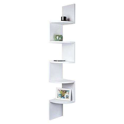 5 Tier-ecke Bücherregal (TopHomer 5 Tier Wall Corner Floating Display Shelf White,Bookcase Display Storage Shelf Wood Unit Decor for Kids Bedroom Living Room)
