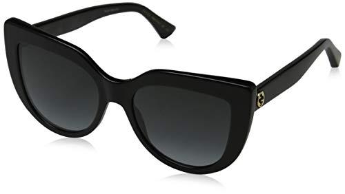 Gucci Damen GG0164S 001 Sonnenbrille, Schwarz (1/Grey), 53