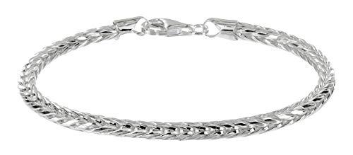 Avesano Herren Armband, Königskette 3mm in 925 Sterling Silber, Männer Armband, Silber-Armband Königskette-Armband, Länge 19cm-23cm, 102083-019 (Herren Sterling Armband Silber)