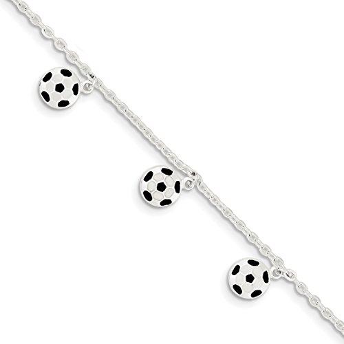 IceCarats Designer Schmuck Sterling Silber Emaillierte-Fußball-5 in W / 1In Extern Bracelet In 6 Inch (5 Fußball Zoll)