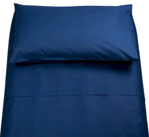 Demona spedizione gratuita set completo di lenzuola 100% cotone singolo tinta unita vari colori sottosopra + federa offerta (blue scuro)