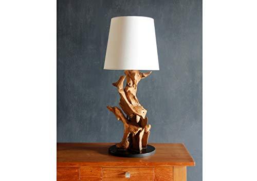 Möbel Bressmer Teakholz Tischlampe Ikal 70 cm Handarbeit| Teak massiv Treibholz Tischleuchte Nature | Driftwood Treibholzlampe Schwemmholz Unikat |