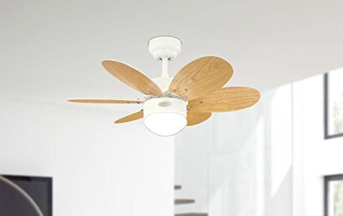 31u7AeGHXFL - Westinghouse Ceiling Fans 78673 Turbo II One-Light 76 cm Six-Blade Indoor Ceiling Fan, White Finish with Opal Frosted…