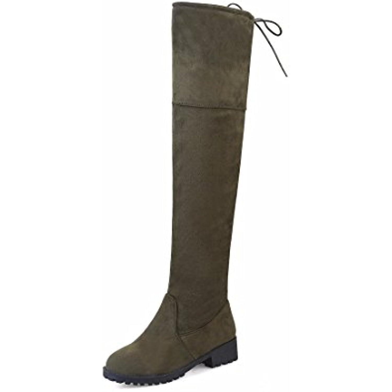 Mesdames hiver bottes bottes bottes bottes bottes en daim Taille leg stretch dentelle - B07765XW8S - 617da5