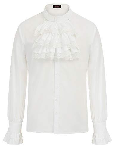 Camisa Steampunk Gothic Stand para Hombre Vintage Slim con Corbata Camisa de Manga Larga Corbata XL Blanco