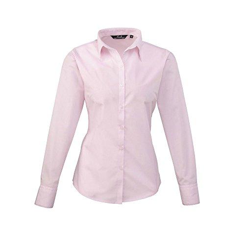 Premier Workwear Damen Bluse Ladies Poplin Long Sleeve Blouse Rosa - Pink