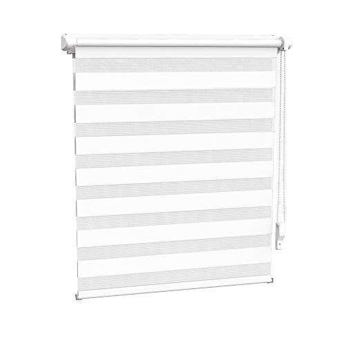 OBdeco Doppelrollo Duo Rollo Klemmfix ohne Bohren Gesamtbreite X Höhe=100cm x 150cm(Stoffbreite 96cm) Weißfür Fenster