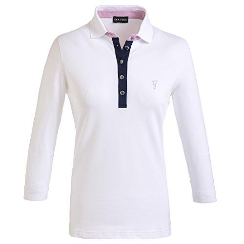 golfino-t-shirt-polo-a-manches-3-4-pour-femme-avec-sun-prougeection-blanc-ml