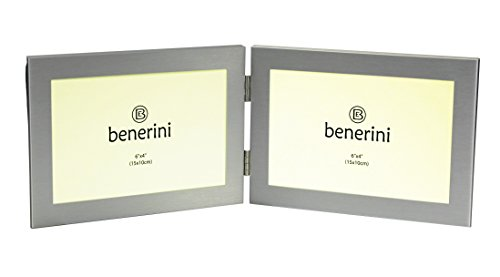 benerini® - Aus Gebürstetem Aluminium Matt Silberfarben - Doppelt 2 Bild Horizontal Doppelklappbilderrahmen - Nimmt 2 Fotos Von 6 X 4 Zoll (15 X 10 Cm) (Landschaftsstil - Mehrfach-bilderrahmen Horizontale