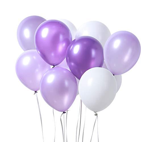 PuTwo Luftballons 12 Zoll 100 Stück Ballons für Party Luftballons Lila Weiß Helium Luftballons Latex Luftballon für Partydeko Mädchen Taufe Dekoration Dekoration Geburtstag Babydusche Deko Gartenparty
