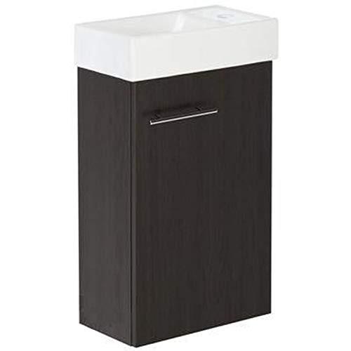 Il set Kim Wenge. Vano lavabo, lavabo, mobile da bagno in colore wengé, piccolo bagno per ospiti, composto da lavabo e lavabo, mobili da bagno sottili per gli ospiti, bagno di piccole dimensioni.