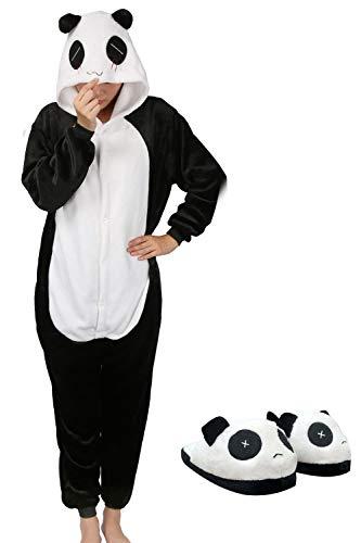 Pigiama animali cosplay party costume di carnevale halloween tuta unisex pigiama intero onepiece regalo di compleanno taglia s,m,l,xl (s(145-155cm), panda e pantofole)