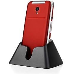 Téléphone Portable Débloqué Senior Téléphone à Clapet avec Grandes Touches Grand Ecran de 2,4 Pouces - SMS et MMS - Bluetooth - Base - SOS - Appels directs - Lampe - DEBLOQUE Toute SIM (Rouge)