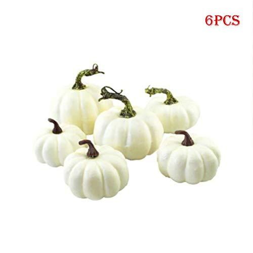Kylewo 6 Deco Blanco   Calabazas Decorativas de Halloween   Calabazas   Calabazas Ornamentales y Calabazas para decoración de Halloween y decoración de otoño.