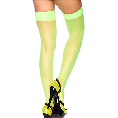 Elsta Damen Frau Sexy Schenkel Hoch Overknee Socken Lange Warm Kniestrümpfe Schick Dessous Netz Schenkel Strumpf Dessous Strumpfband Gürtel Elastisch Spitzenbesatz Strümpfe (Grün) (Knie-hohe Socken Mit Griffen)