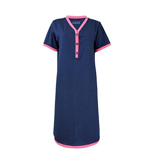 b5f72954d70fcc Alkato Damen Kurzarm Stillnachthemd V-Ausschnitt Knopfleiste, Farbe:  Dunkelblau/Koralle, Größe