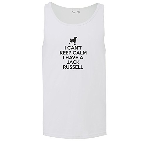 Brand88 - I Can't Keep Calm I Have A Jack Russell, Unisex Jersey Weste Weiß