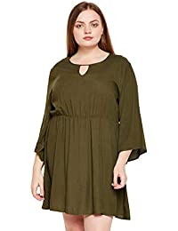 36bc954e7d oxolloxo Plus Size Women Round Neck Green Shirt Dress Long Sleeves