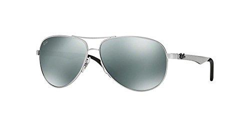 Ray-Ban Carbon Fibre Frame Silver Lens Sunglasses Rb8313