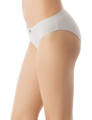iB-iP Damen Modal Slips Bow Front Soft Cotton Niedrige Leibhöhe Bikini Höschen Hellgrau