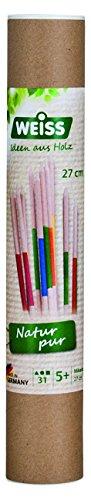 Weiss Natur Pur B33220, Mikado Spiel Stäbchen mittel (27cm) aus Holz für Kinder in runder Box (31-teilig)