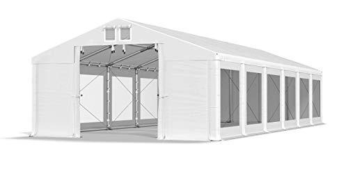 Das Company Transparente Fenster Partyzelt 6x12m wasserdicht weiß Zelt 580g/m² PVC Plane Ganzjährig Stabil Gartenzelt Winter Plus ISDT