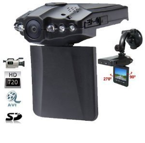 LKM Security Dash Cam pour voiture | Full-HD 1080P | 6 Infrarouge Led | 2.5'' LCD Display | Grand Angle 120° | Micro SD (Max 32Go) | Détection de mouvement | Vision de Nuit |