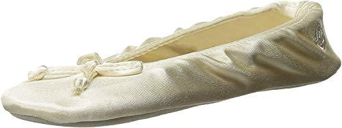 isotoner Damen Satin Ballerina Slippers Slipper, cremefarben, 35/36 EU