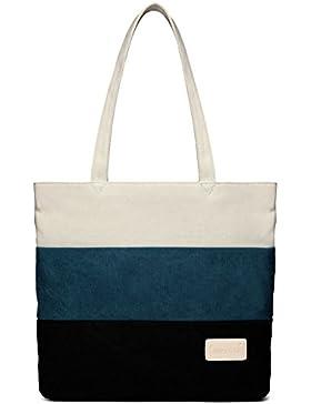 DCCN Canvas Shopper Bag Damen Handtasche Henkeltasche groß College Bag für Studenten 39*34*9cm