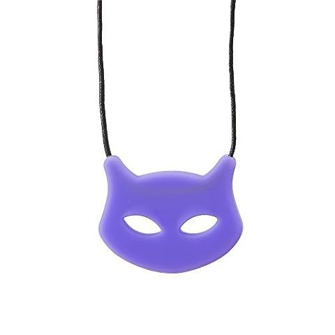 Chewigem Cat Mew Necklace - Sensory Grinding Chew - Fidget Toy For Autism-Purple