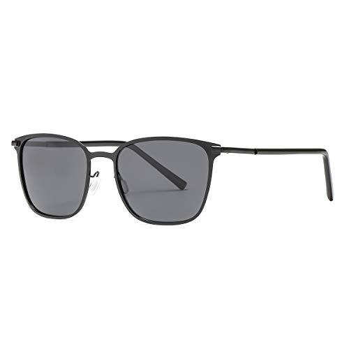 kimorn polarisierte Sonnenbrille Quadrat Metallrahmen Unisex für die Jagd und das Fischen k0609 (Schwarz)