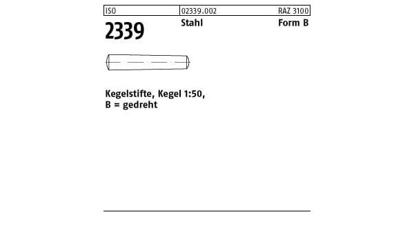 25 Kegelstifte ISO 2339 9S20K B 10x100 Stahl