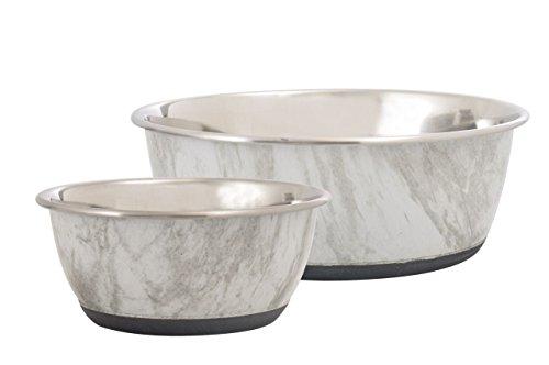 Cajou Antirutsch Napf-Set Futternapf und Wassernapf für Hunde Marmoroptik oder Holzoptik (2 x 300 ml, Marmoroptik)