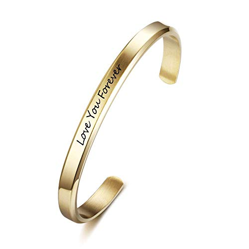 Grand Made Gravierter Armreif mit Ihrem Wunschnamen Damen Schmuck Bangle Personalisiert Edelstahl Armband mit Wunschgravur Geburtstagsgeschenk Valentinstag Schmuck für Damen (Gold, 6mm breit)